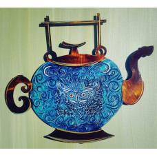 Two Moon Midnight Owl Copper Teapot