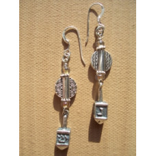 Sterling Silver Dancing Dreidel earrings