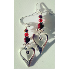 Red Spiral Heart Earrings