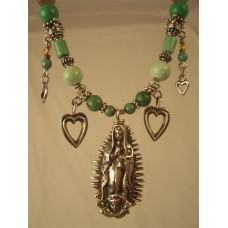 Turquoise and Sterling Silver Virgin De Guadalupe Necklace by Robert Shields