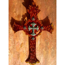 Red And Rust Silver Cross