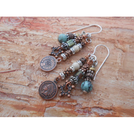 Copper and Turquoise Earrings by Robert Shields