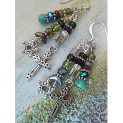 Star and Silver Cross earrings