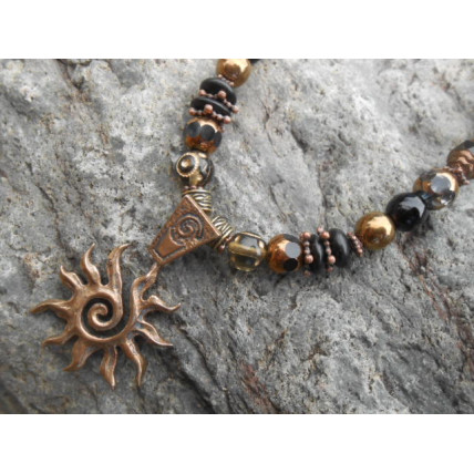 Bronze Spiral Sun Necklace