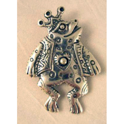 Sterling Silver Frog Prince Pendant/pen combo by Robert Shields