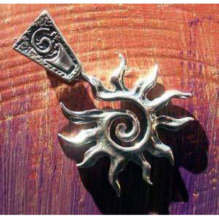 Sterling Silver Spiral Sun with Toggle by Robert Shields