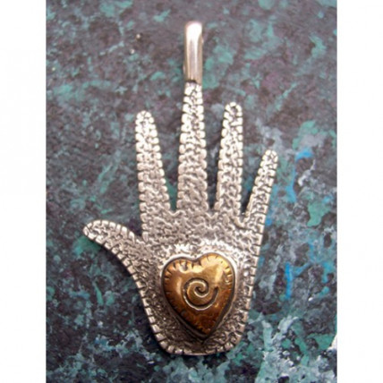 Sterling Silver Sacred Hand Pendant by Robert Shields