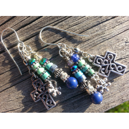 True Blue Cross Earrings