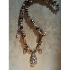 Sterling Silver Virgin De Guadalupe Earthtone Necklace by Robert Shields