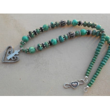 "18"" Turquoise and Silver Cross in Heart by Robert Shields"