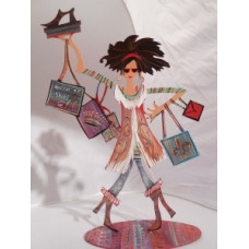 Brunette Queen of Shoes Power Shopper on stand