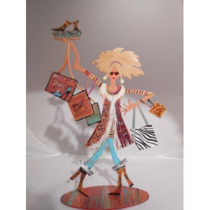 Blonde Queen of Shoes Power Shopper on stand