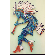 "Blue and Turq kokopelli 14""x9"""