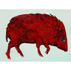 "Red Javelina Hand Painted (10""x 8"")"