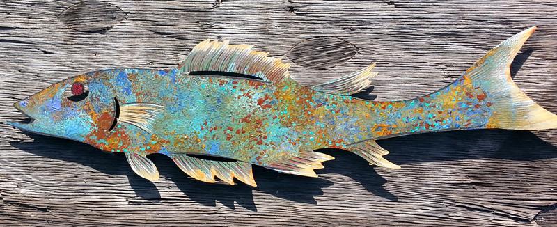 Large Turquoise Patinaed Fish