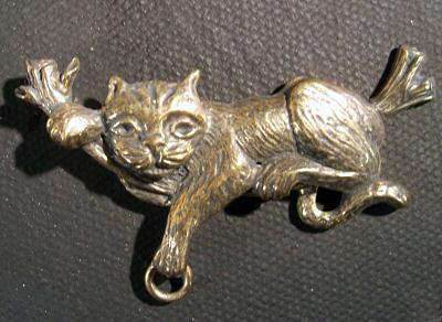 Bronze Cat in Tree Brooch by Robert Shields